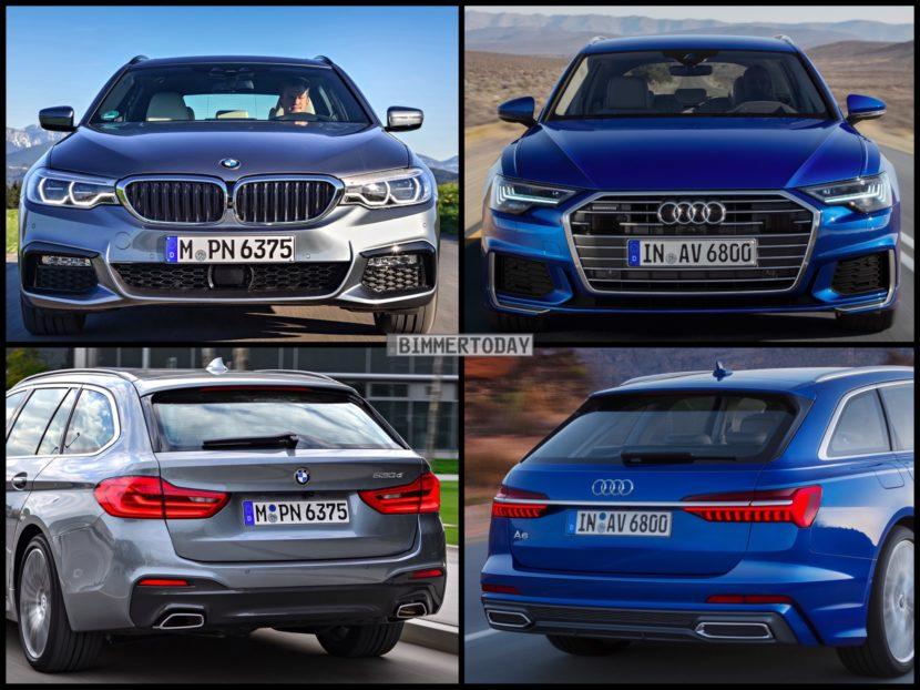 Bild Vergleich BMW 5er Touring G31 Audi A6 Avant C8 2018 02 830x622
