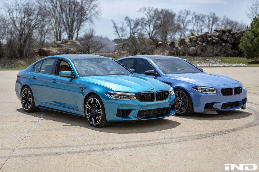 IND DIstribution BMW F10 M5 Yas Marina Blue vs BMWF90 M5 Snapper Rocks Blue 1 830x553