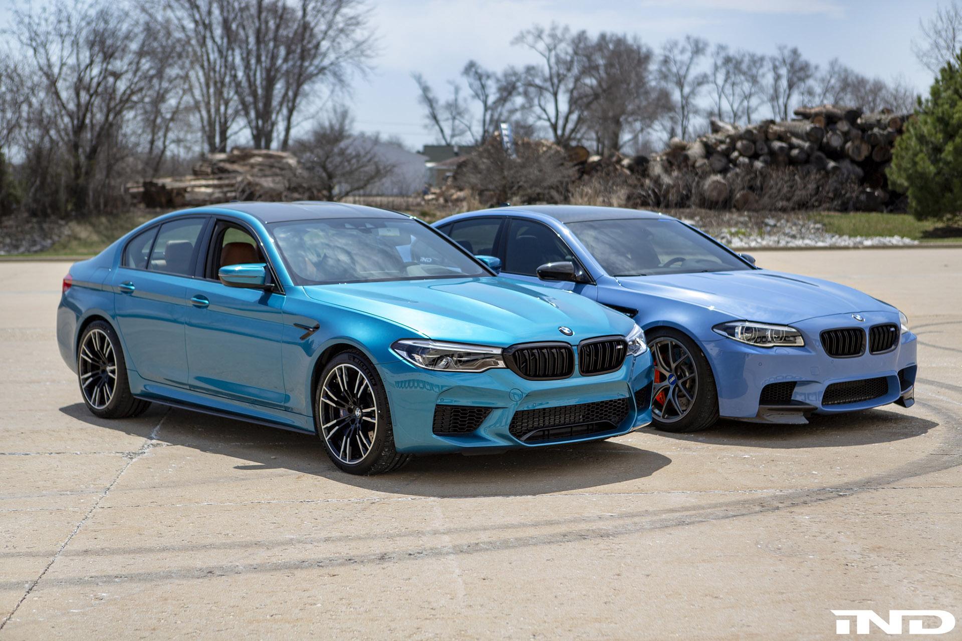 IND DIstribution BMW F10 M5 Yas Marina Blue vs BMWF90 M5 Snapper Rocks Blue 1