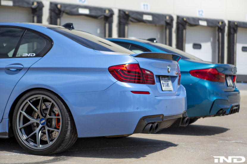 IND DIstribution BMW F10 M5 Yas Marina Blue vs BMWF90 M5 Snapper Rocks Blue 3 830x553