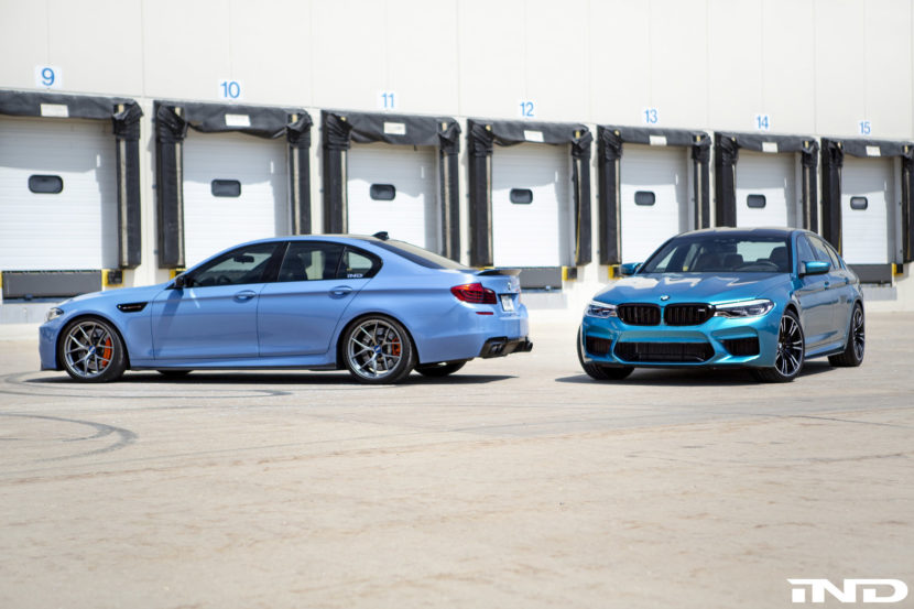 IND DIstribution BMW F10 M5 Yas Marina Blue vs BMWF90 M5 Snapper Rocks Blue 5 830x553