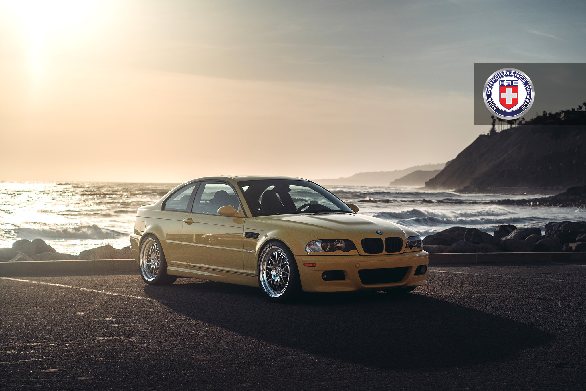Phoenix Yellow BMW M3 with HRE 540 Wheels in Polished Clear 1