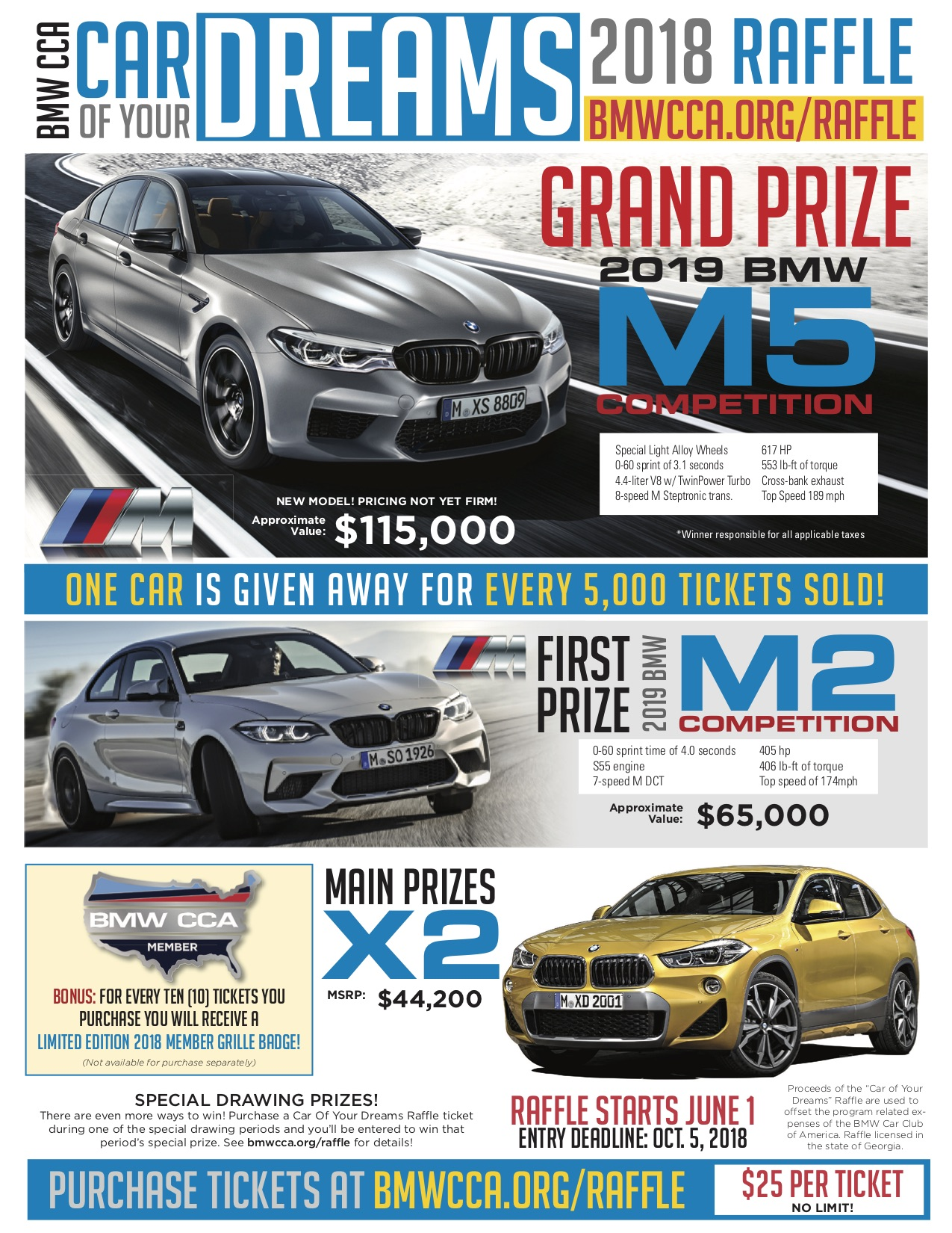 BMW CCA Car Of Your Dreams Raffle has just begun