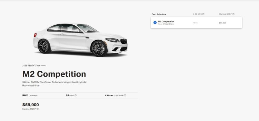 BMW m2 Competition configurator 830x387