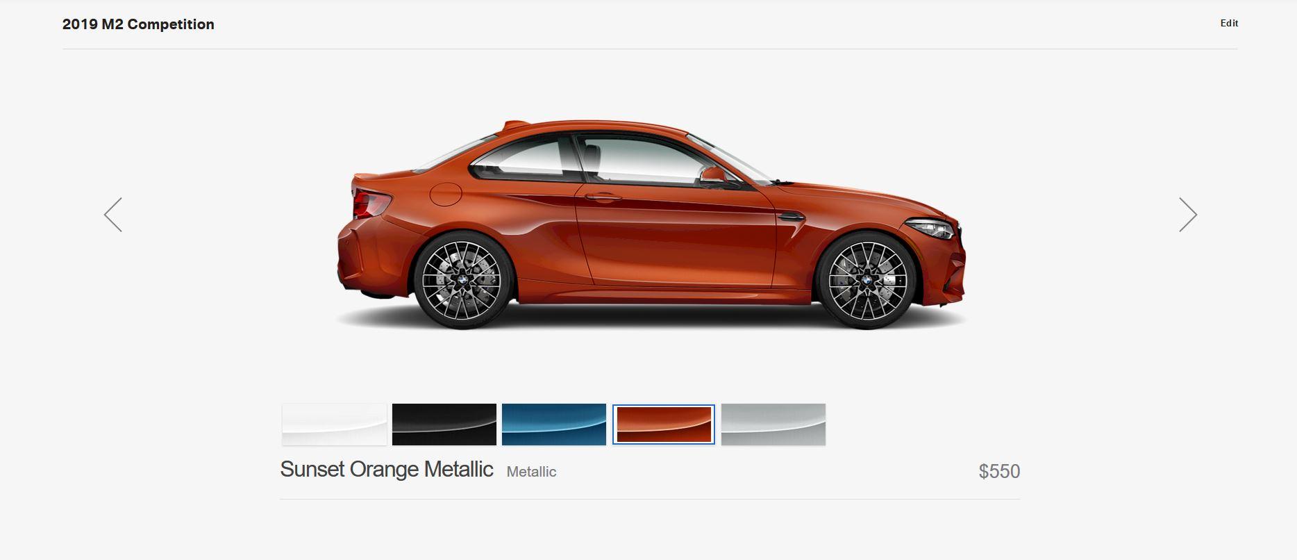BMW m2 Competition sunset orange