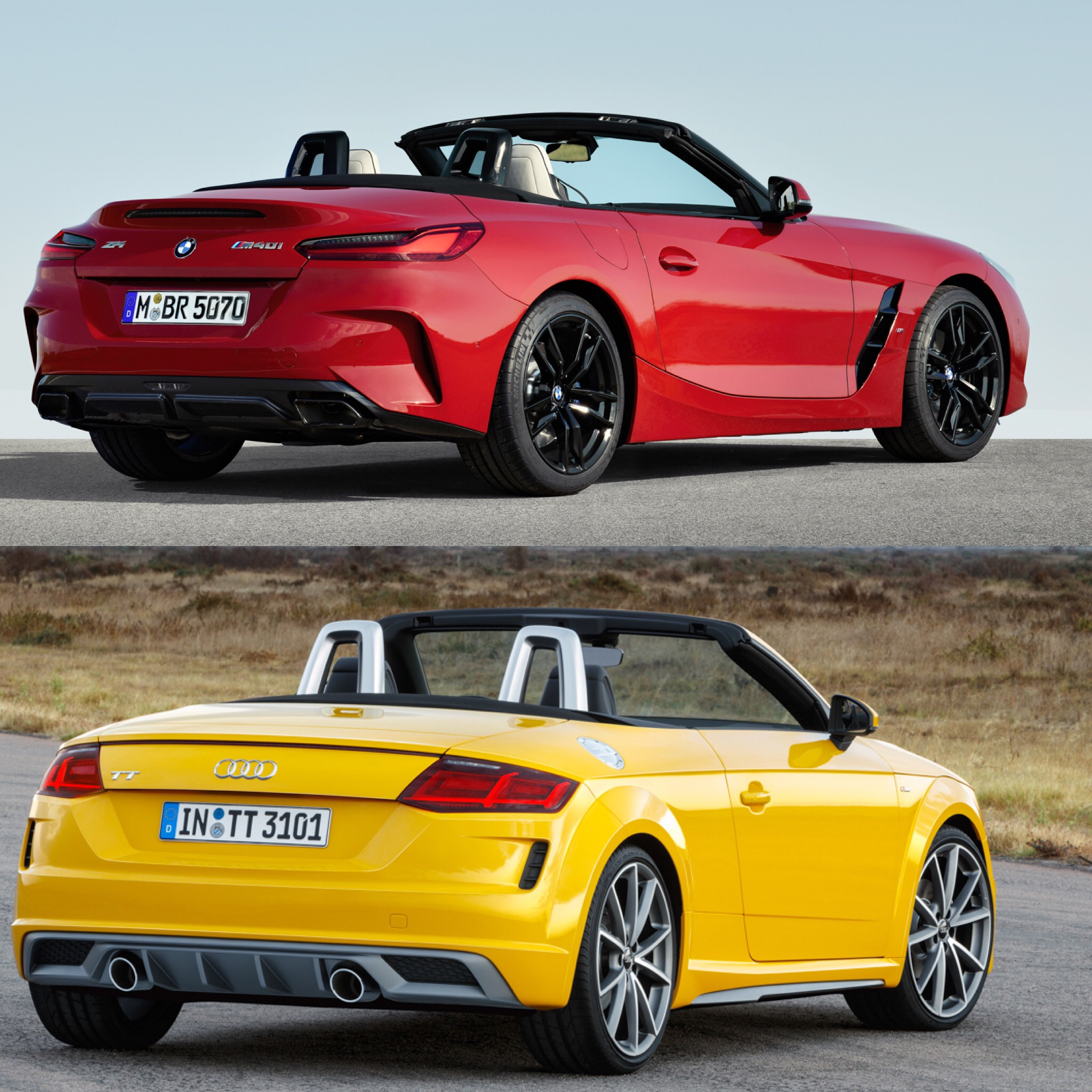 Bmw Z4 Convertible Sports Car: Photo Comparison: BMW Z4 M40i Vs Audi TT Roadster