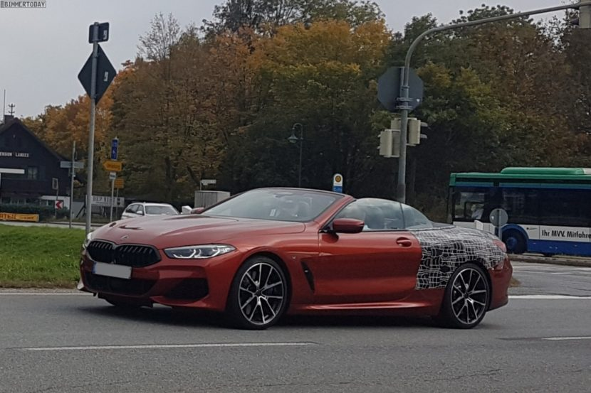 2019 BMW 8er Cabrio Sunset Orange Spyshots 01 830x553