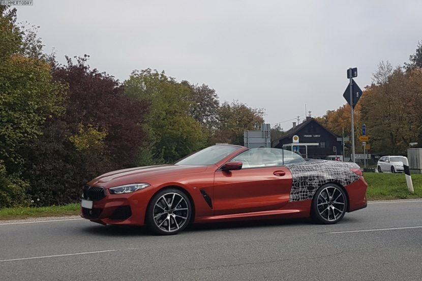 2019 BMW 8er Cabrio Sunset Orange Spyshots 02 830x553