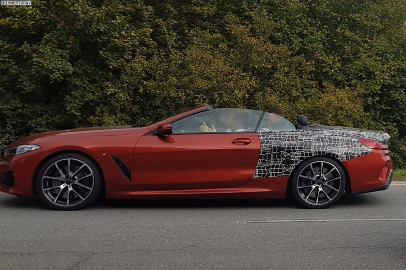 2019 BMW 8er Cabrio Sunset Orange Spyshots 03 830x553