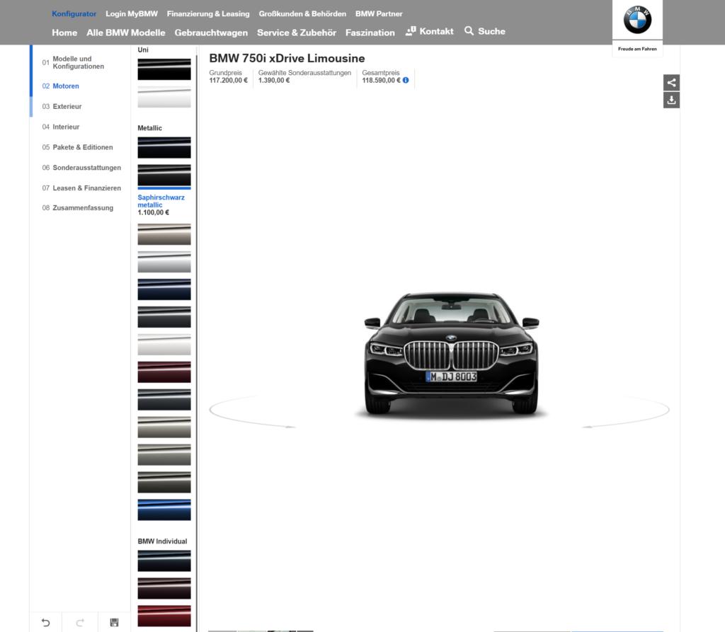 BMW 7 Series Facelift configurator online at BMW.de