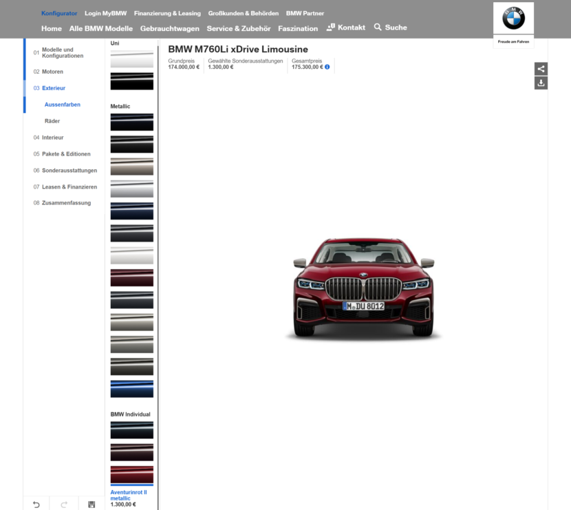 BMW M760Li configurator 830x741