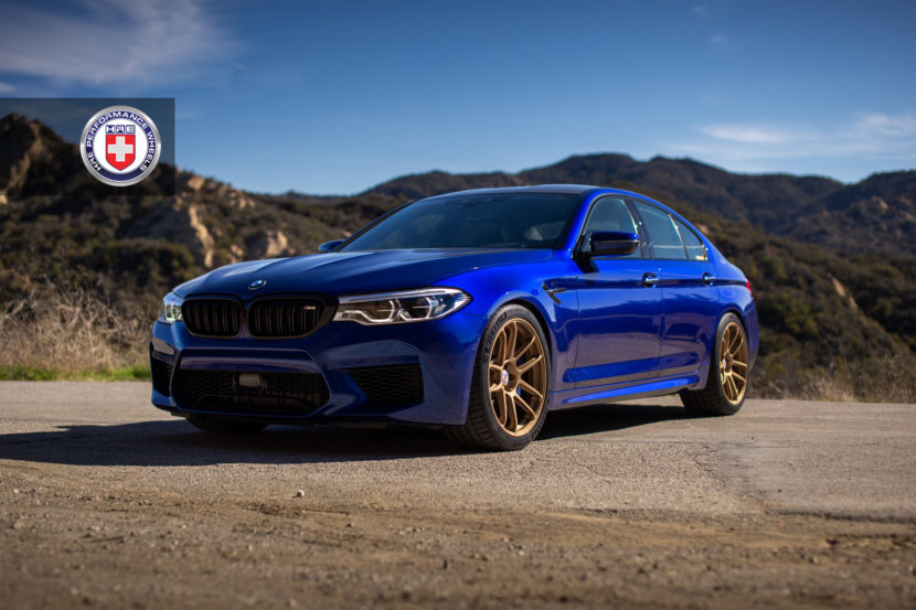 Estoril Blue BMW M5 with HRE RC104 Wheels in Satin Gold 1 830x553