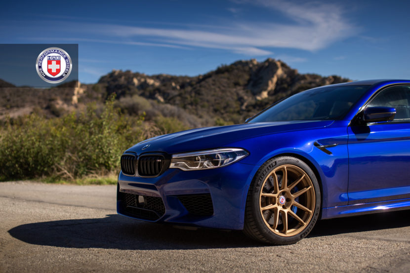 Estoril Blue BMW M5 with HRE RC104 Wheels in Satin Gold 2 830x553