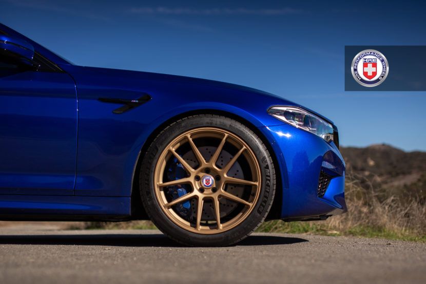 Estoril Blue BMW M5 with HRE RC104 Wheels in Satin Gold 5 830x553