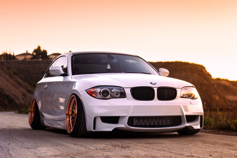 alpine white bmw 135i modified bagged air suspension carbon fiber copper ccw classic wheels i 830x553