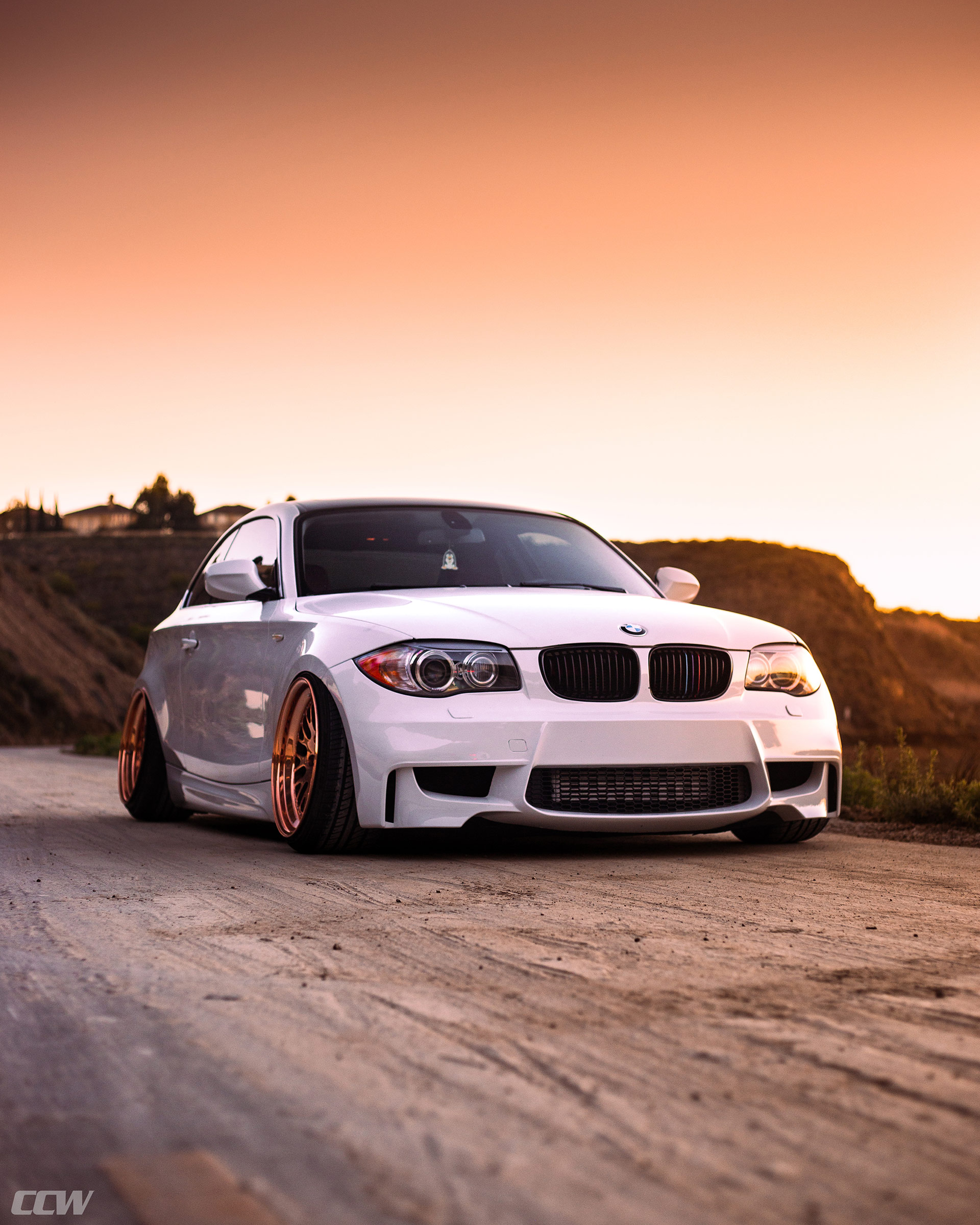 alpine white bmw 135i modified bagged air suspension carbon fiber copper ccw classic wheels i
