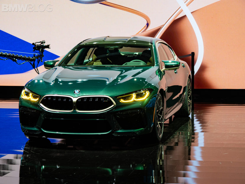 2020 BMW M8 Gran Coupe Aurora Diamant Green Metallic 5 830x623