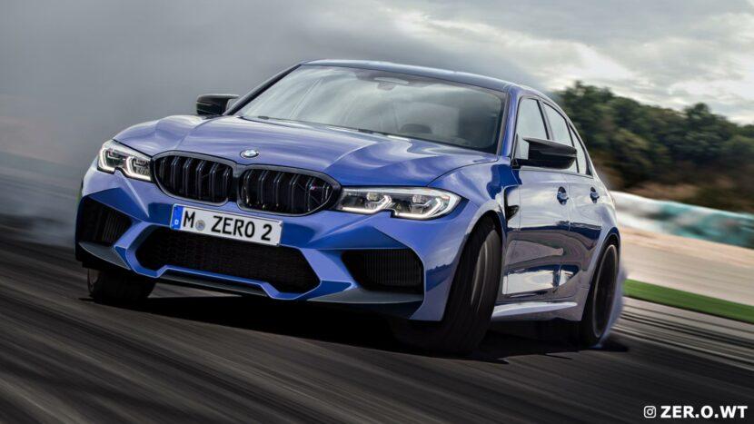 """2021 BMW M3 Sedan rendered with """"normal"""" kidney grilles"""