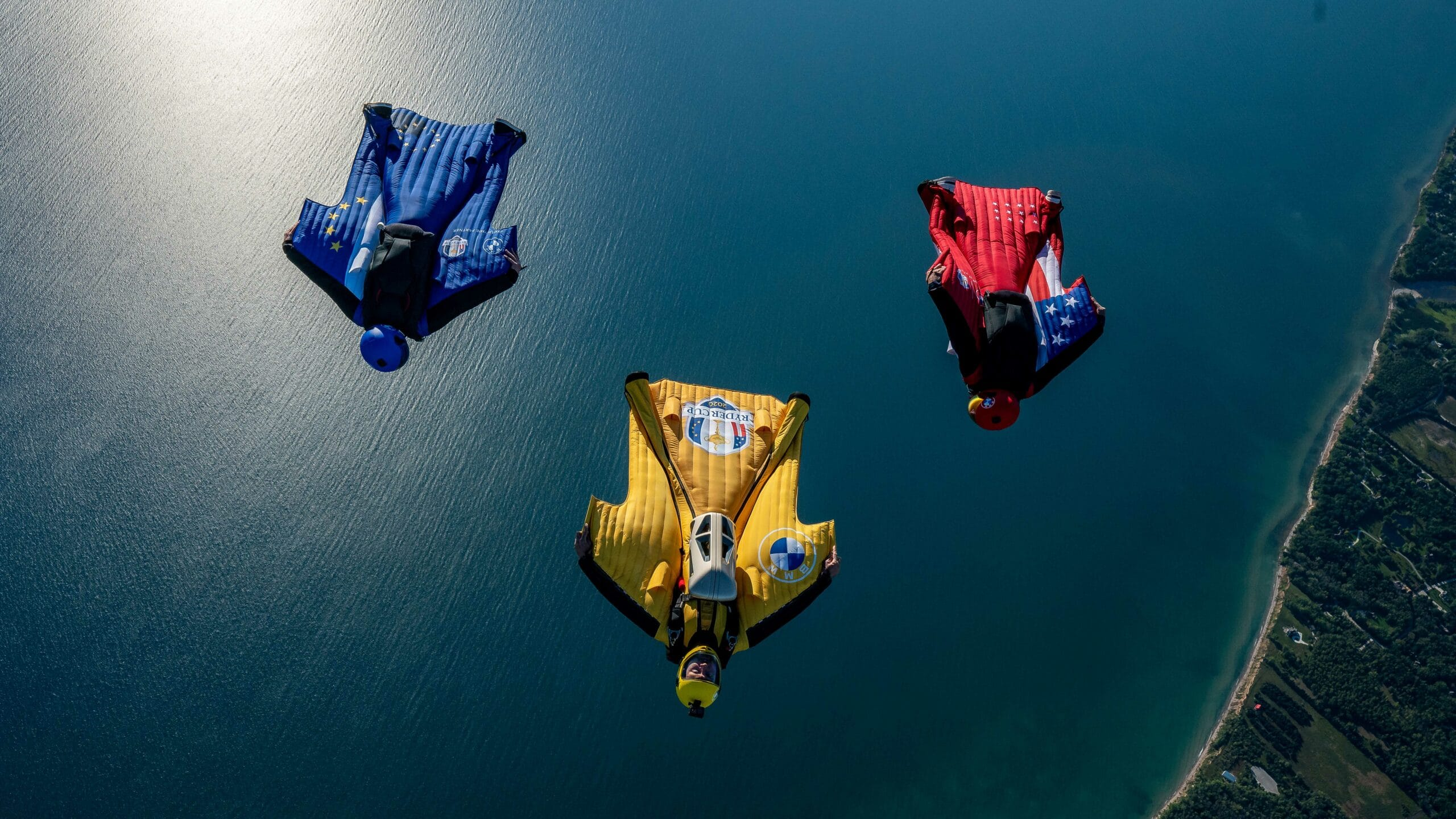 BMW prepared an air stunt for the US Ryder Cup opening