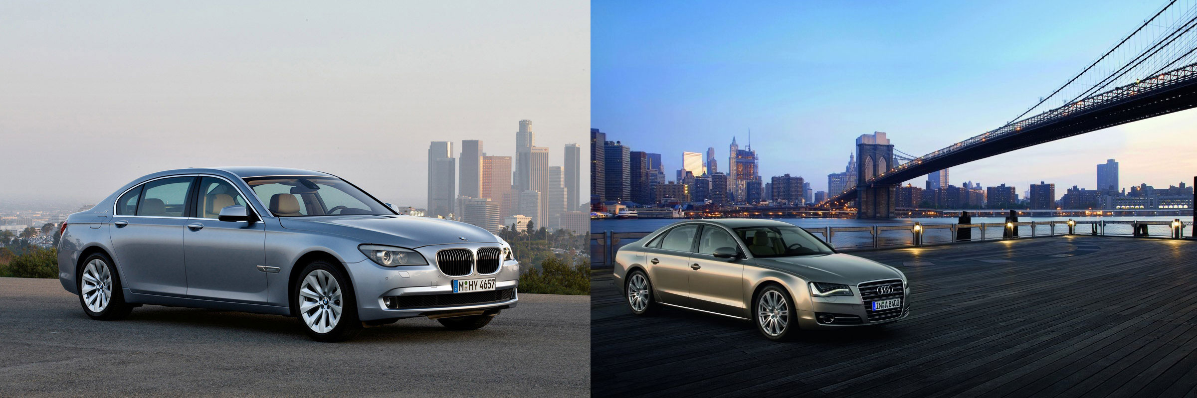 7 series vs audi a8 side front