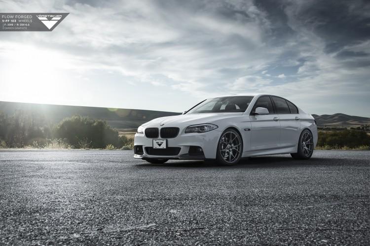 Alpine White BMW F10 5 Series Rocking Vorsteiner Wheels