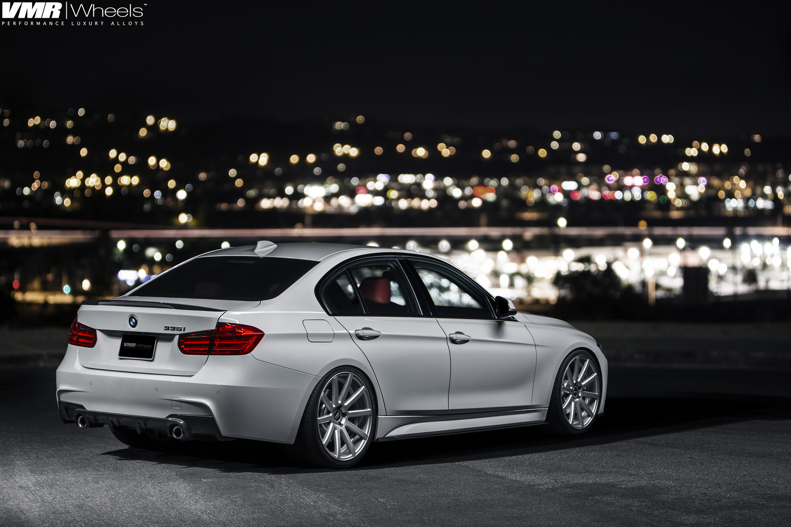Alpine White BMW F30 335i With V702 Matte Gunmetal Wheels