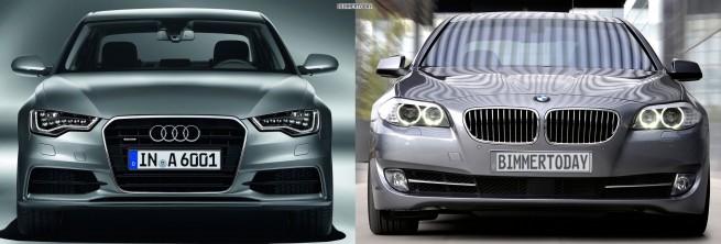 Audi A6 C7 BMW 5er F10 Bildvergleich Front 655x222