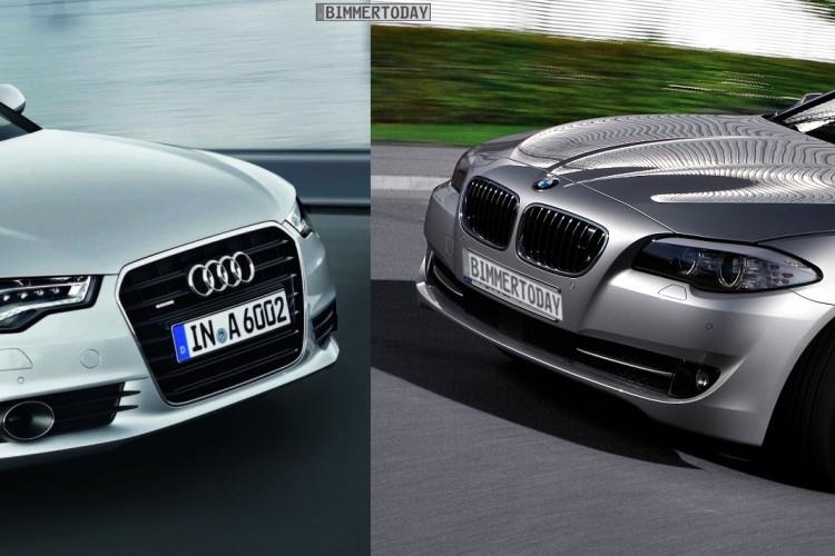 Audi A6 C7 BMW 5er F10 Bildvergleich Front schraeg 750x500