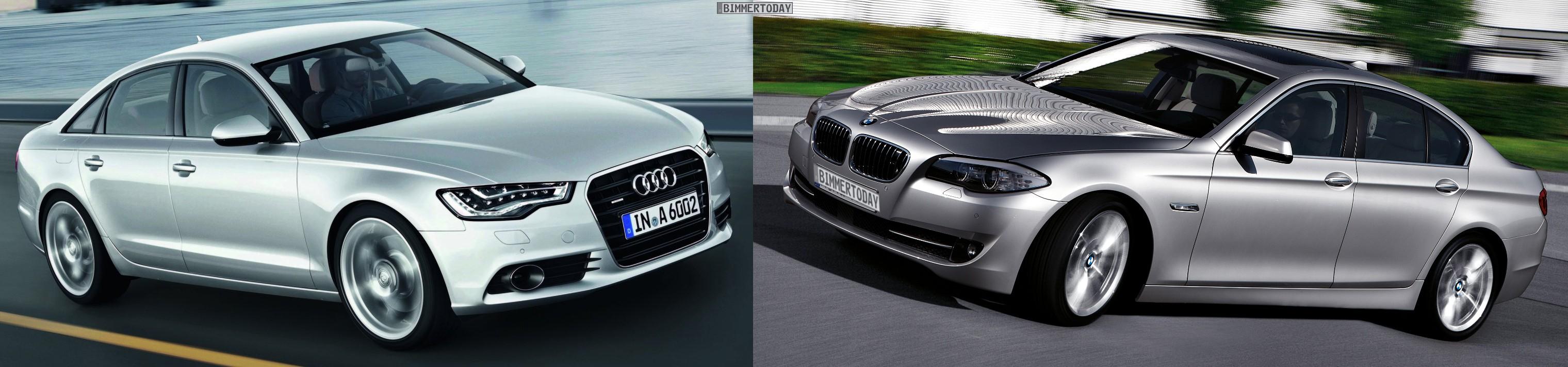 Audi A6 C7 BMW 5er F10 Bildvergleich Front schraeg