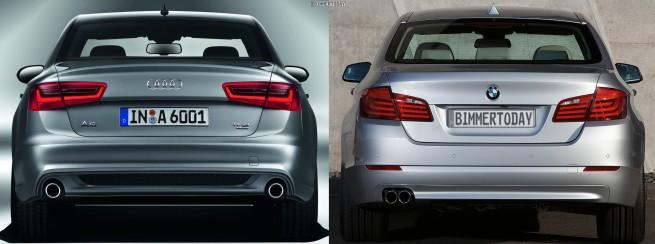 Audi A6 C7 BMW 5er F10 Bildvergleich Heck 655x244