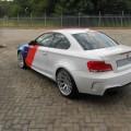 BMW 1M Matte White Motorsport Stripes Wrap Rear 120x120