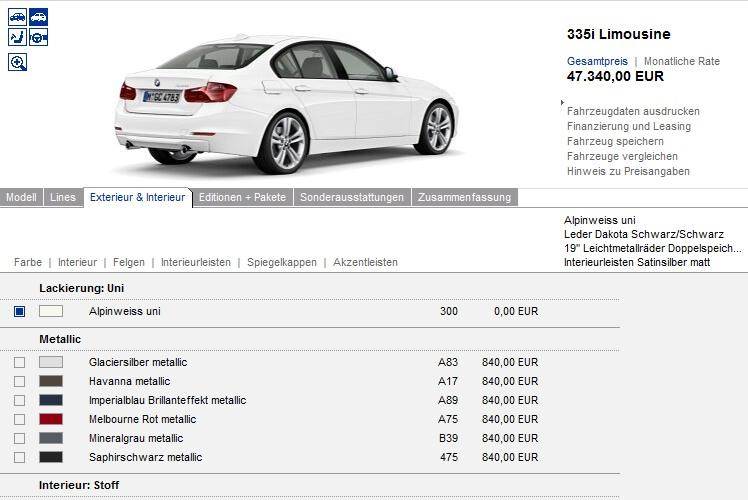 BMW 3er F30 Konfigurator