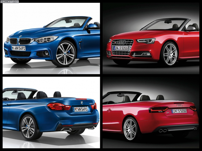 BMW 4 Series Convertible M Sport Package vs 2013 Audi S5 Convertible comparison 655x490