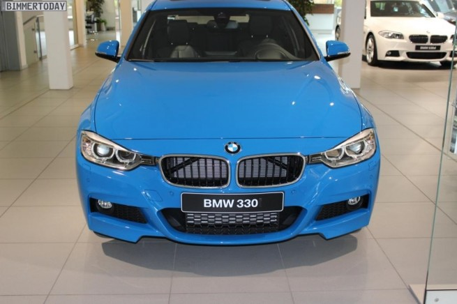 BMW Individual Pure Blue 330d F30 M Sportpaket 3er blau 06 655x436