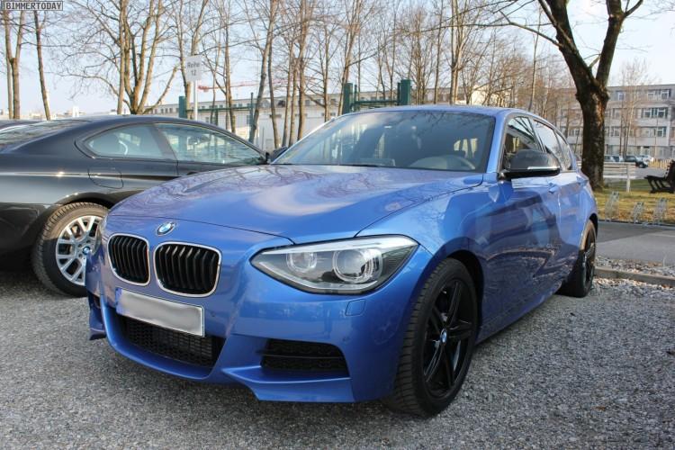 BMW M135i undisguised in Estoril Blue