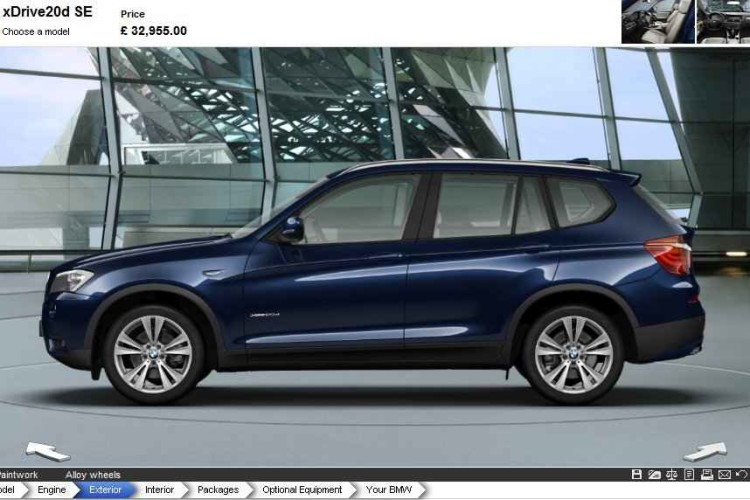 Online configurator 2011 BMW X3 xDrive20d F25 available on bmw.co.uk