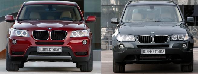 BMW X3 F25 vs X3 E83 Front 655x247