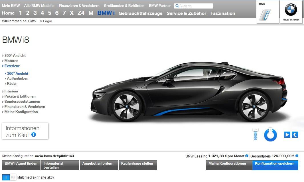 BMW i8 Konfigurator Preise Sonderausstattungen Optionen 01
