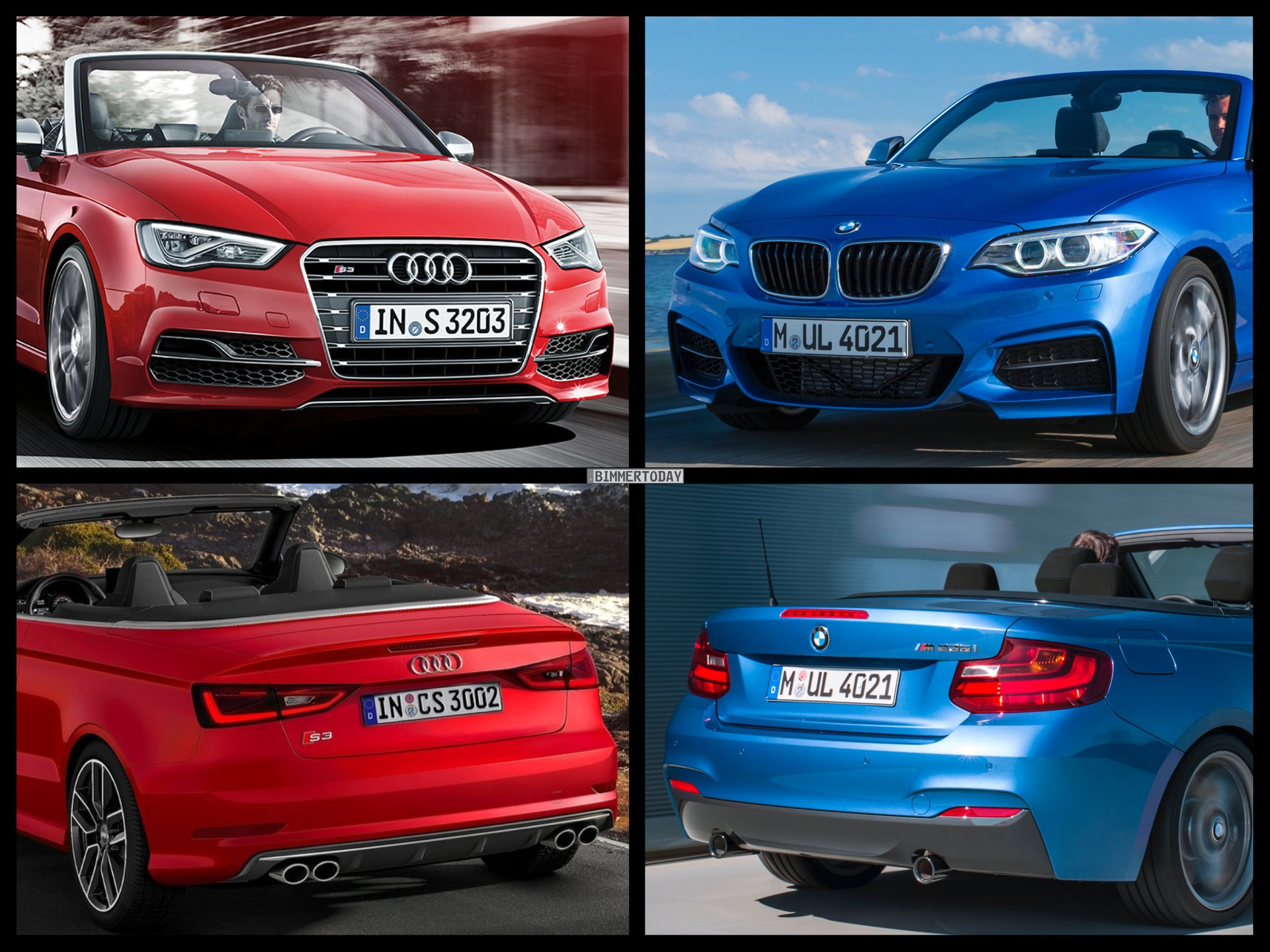 Bild Vergleich BMW 2er F23 M235i Audi S3 Cabrio 2014 01