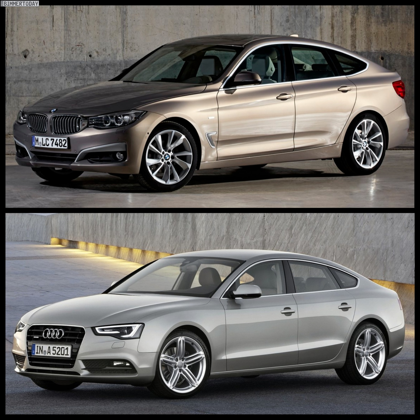 Photo Comparison Bmw 3 Series Gt Vs Audi A5 Sportback