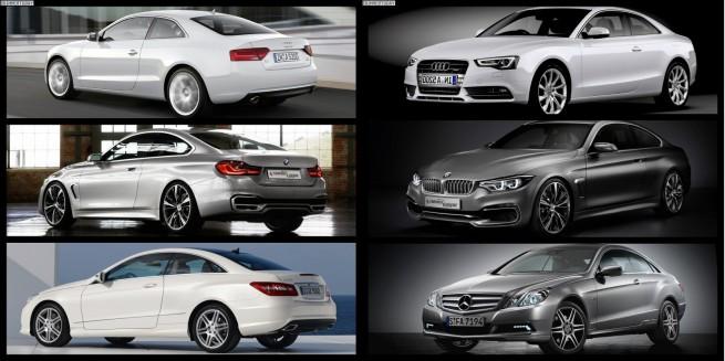 Bild Vergleich BMW 4er Audi A5 Mercedes E Klasse Coupe 655x327