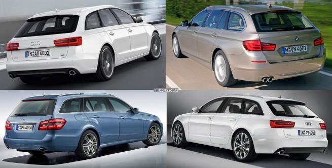 Bildvergleich Audi A6 Avant BMW 5er Touring Mercedes E Klasse T Modell Heck schraeg 655x331