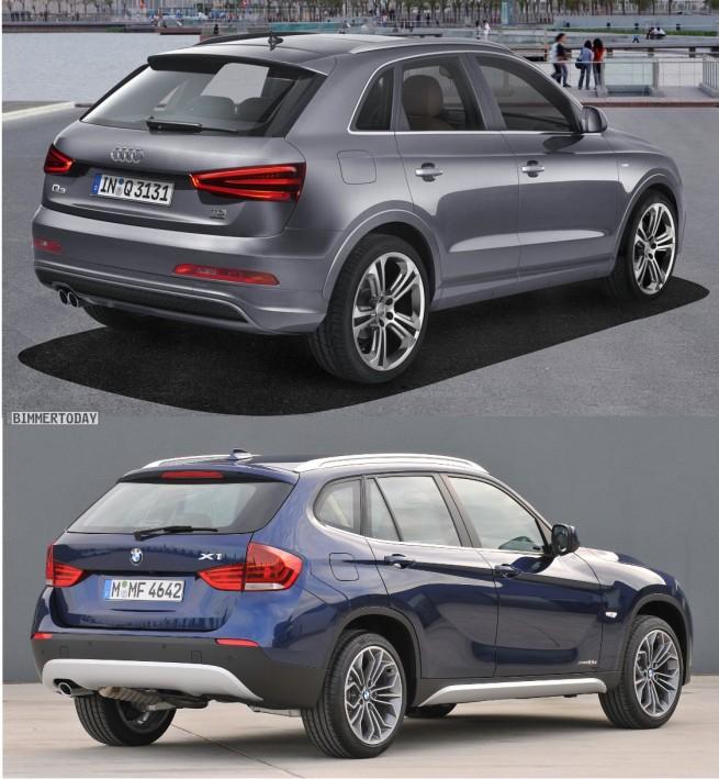 Bildvergleich Audi Q3 BMW X1 Heck 655x709