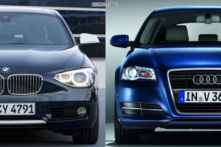 Bildvergleich BMW 1er F20 Audi A3 Sportback Front 750x500