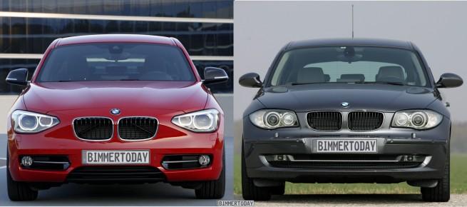 Bildvergleich BMW 1er F20 vs E87 LCI Front 655x290