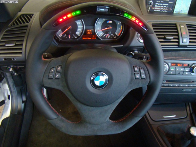 TVW Car Design BMW 1 Series M interior steering wheel details with LED indicators 655x491