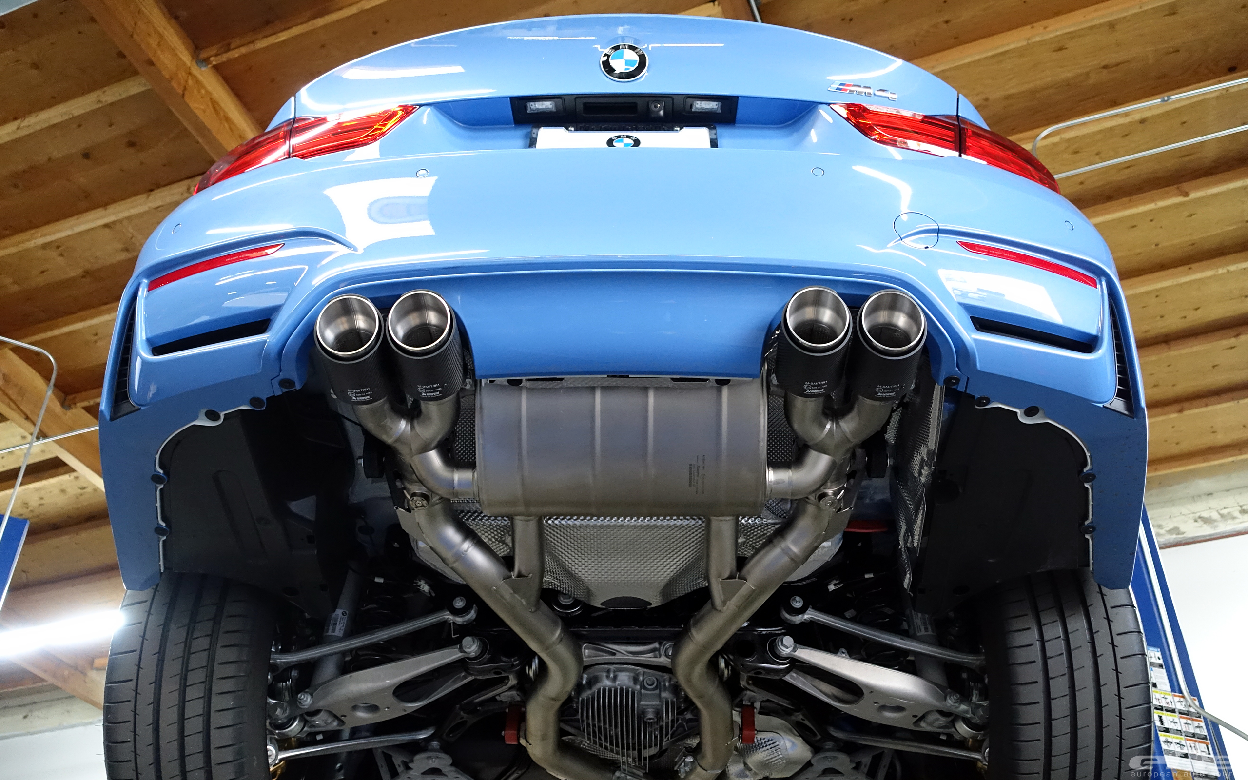 Yas Marina Blue Bmw M4 Receives An Akrapovic Exhaust System