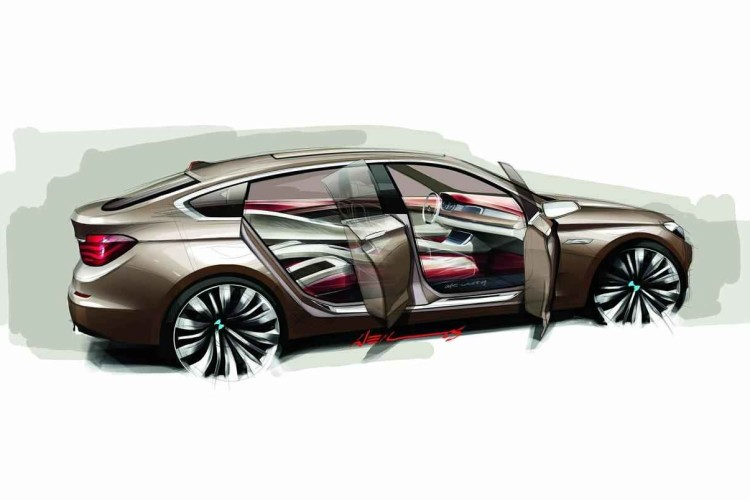 bmw 5 series gran turismo concept sketch img 2 750x500