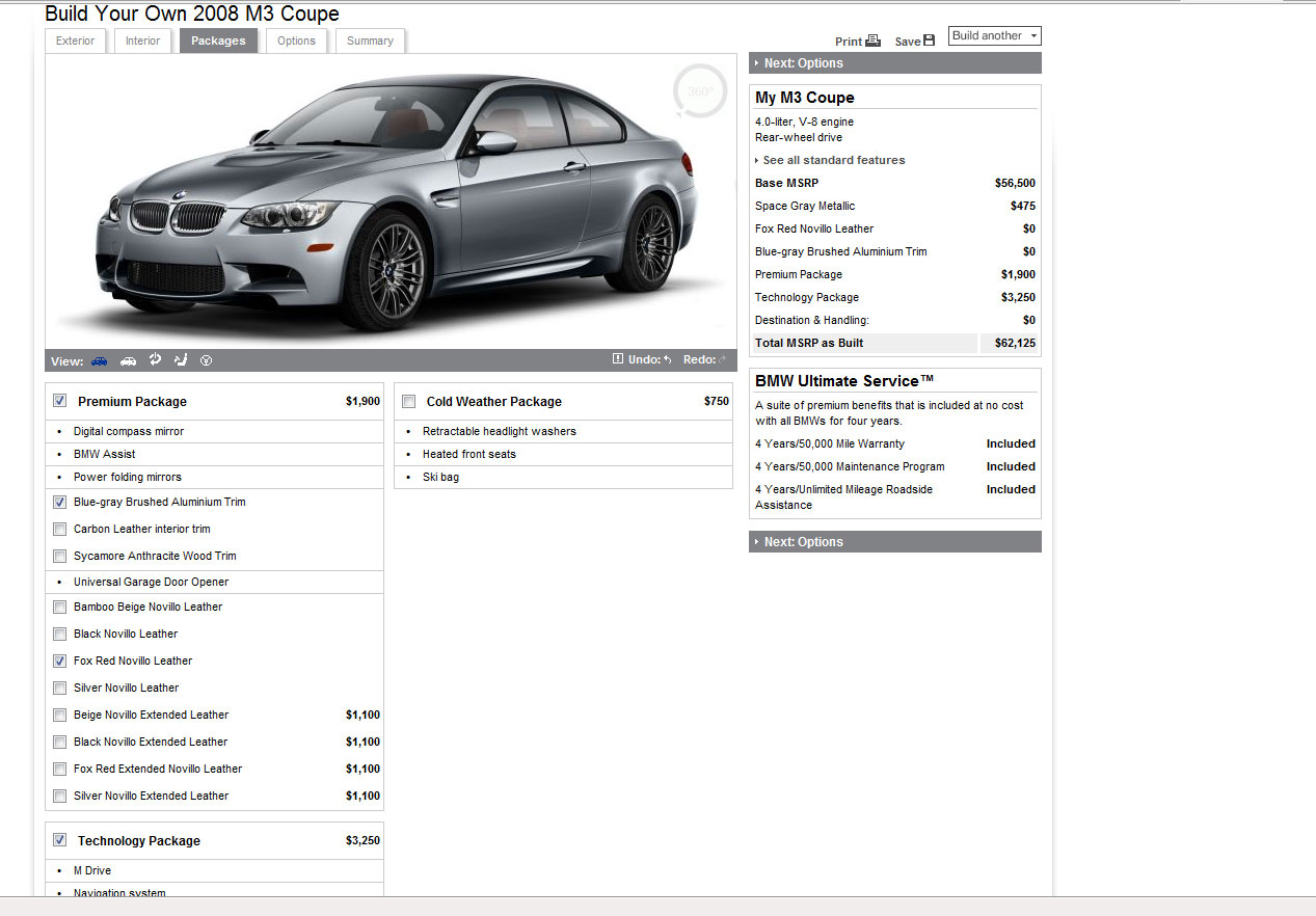 BMWUSA 2008 BMW M3 online configurator now available