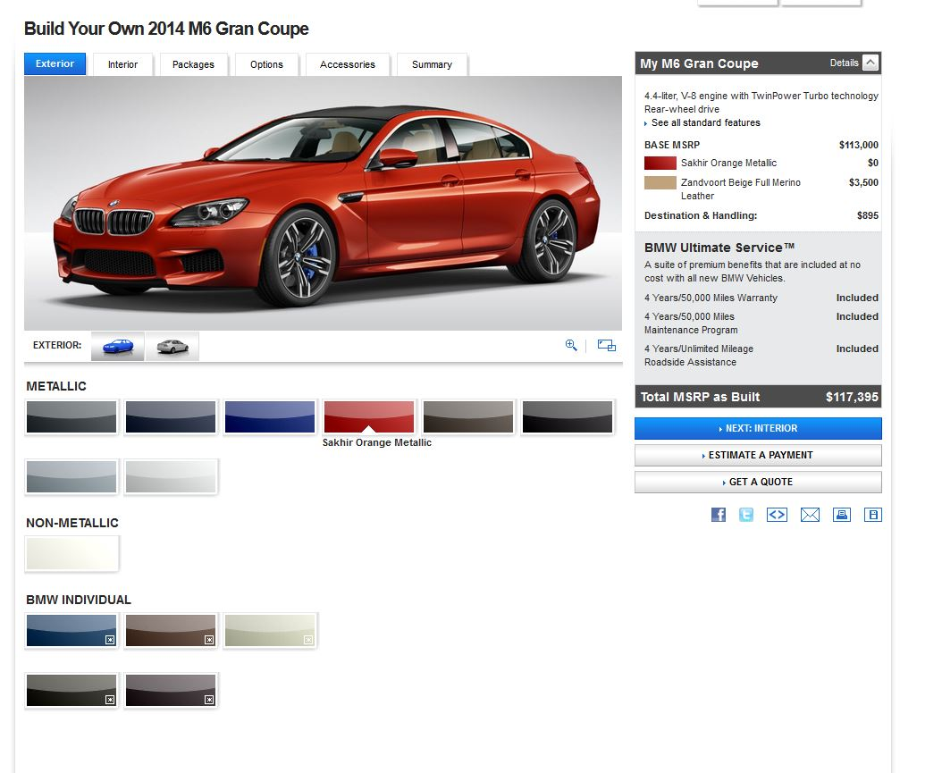 bmw m6 gran coupe online configurator